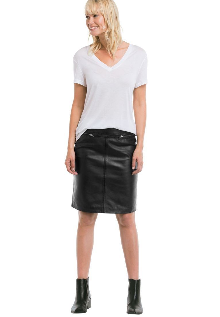 Ellos Women's Plus Size Zip Pocket Leather Skirt Black,22