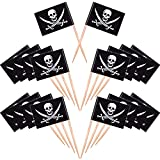 Blulu 100 Pieces Pirate Cocktail Toothpicks Flags Cake Toppers for Food, Appetizer, Cocktail, Cupcake Decoration for Kids Christmas Birthday Party Decorations