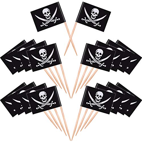 (Blulu 100 Pieces Pirate Cocktail Toothpicks Flags Cake Toppers for Food, Appetizer, Cocktail, Cupcake Decoration for Kids Christmas Birthday Party)