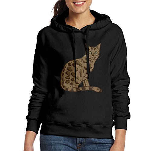 Bengal Cat Freehand Women's Classic Pullover Print Hoodie Hooded Sweatshirt With Drawstring XL