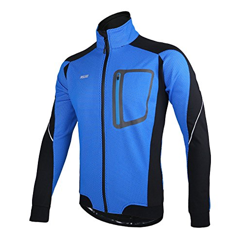 ARSUXEO Winter Thermal Fleece Cycling Jacket Windproof 14D Blue Size Large