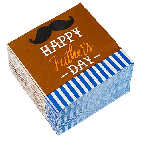 Fathers Decorations Day (Cocktail Napkins - 150-Pack Luncheon Napkins, Disposable Paper Napkins Father's Day Party Supplies, 2-Ply, Mustache Design, Unfolded 10 x 10 Inches, Folded 5 x 5 Inches)