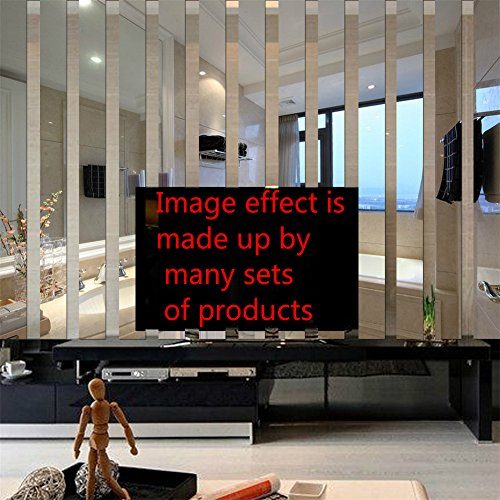 Yanqiao 10x38cmx10pcs 3D Long Rectangle Acrylic Mirrors Wall Stickers TV Background Living Room Bedroom Home Decoration Border DecalSilver