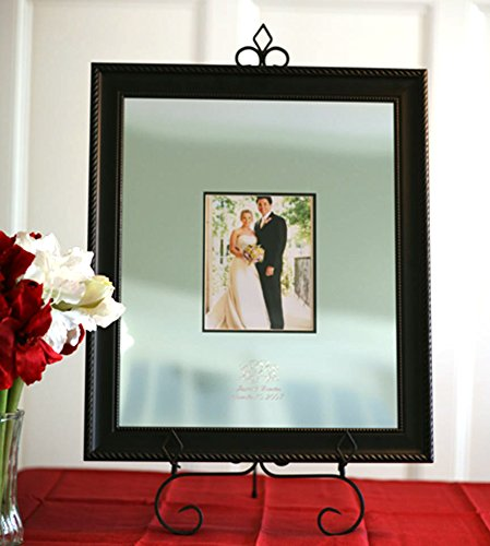 Signature Keepsakes Frame Engravable Signature Mat Guest Book, Medium, Silver/Black by Signature Keepsakes