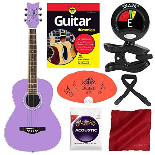Daisy Rock Debutante Junior Miss Acoustic Popsicle Purple with Guitar for Dummies and Deluxe Beginners Kit