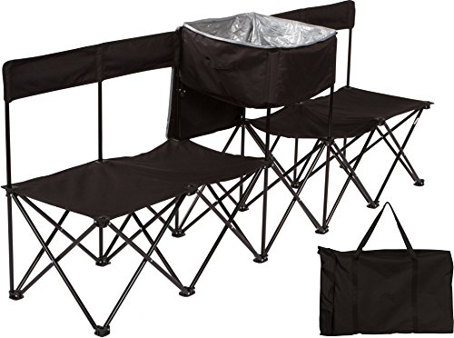 4 Seater Bench (7.5' Portable 4-Seater Folding Team Sports Sideline Bench with Back & Attached Cooler by Trademark Innovations (Black))