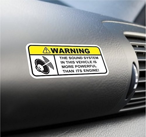 (2X) Funny Sound System Warning Sticker Set Vinyl Decal For Car Subwoofer Woofer