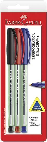 Caneta Esferografica Trilux Ponta Fina Vermelho/Preto/Azul - Blister com 03, Faber-Castell, SM/TRIPF, Multicor