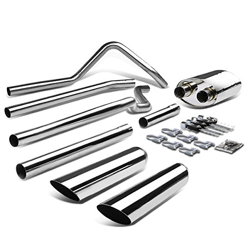 (For 04-08 Ford F150 11th Gen Dual 3.5 inches Slant Tip Stainless Steel Catback Exhaust System)
