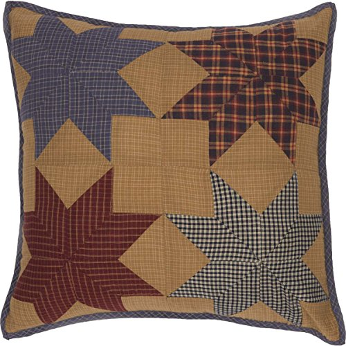 (VHC Brands Classic Country Primitive Pillows & Throws - Kindred Star Tan Patchwork 18