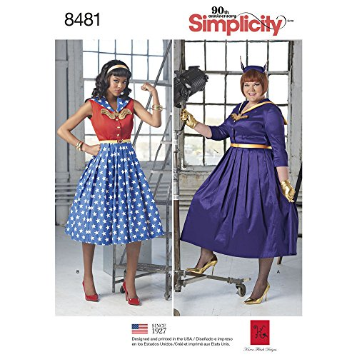 Simplicity Pattern 8481 AA Misses' and Women's Rockabilly Costume Dresses, Size (Wonder Woman Costumes Pattern)