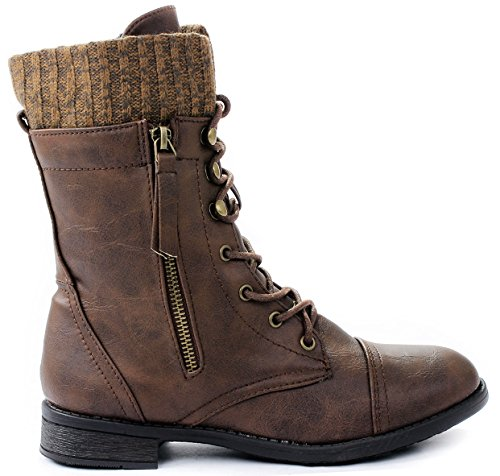 Front Lace Ankle Boot - Women Justina58 Brown Leatherette Sweater Cuff Lace Up Decorative Zipper Mid Calf Ankle Combat Boots-8