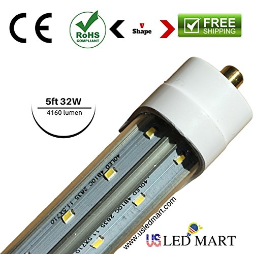5 Feet 32w V Shape 45 Degree LED Tube Light with Base G13/single Pin Natural White (Day Light) - Clear Cover - Double Row LED - 4160 Lumens - 4 Pack by USLEDMART