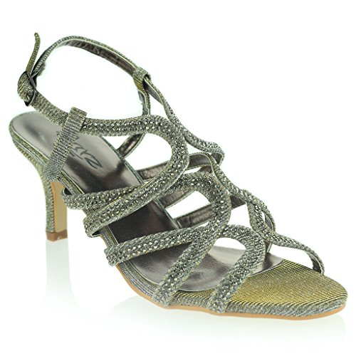 Mujer Señoras Diamante Decorado Enjaulado Correa Tacón Medio Noche Fiesta Boda Prom Nupcial Sandalias Zapatos Talla Estaño