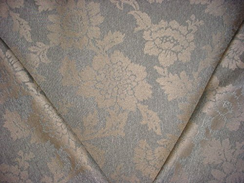 93RT10 - Gray Graphite Brown Flowering Branch Linen Damask To the Trade / Designer Upholstery Drapery Fabric - By the - Damask Fabric Gray
