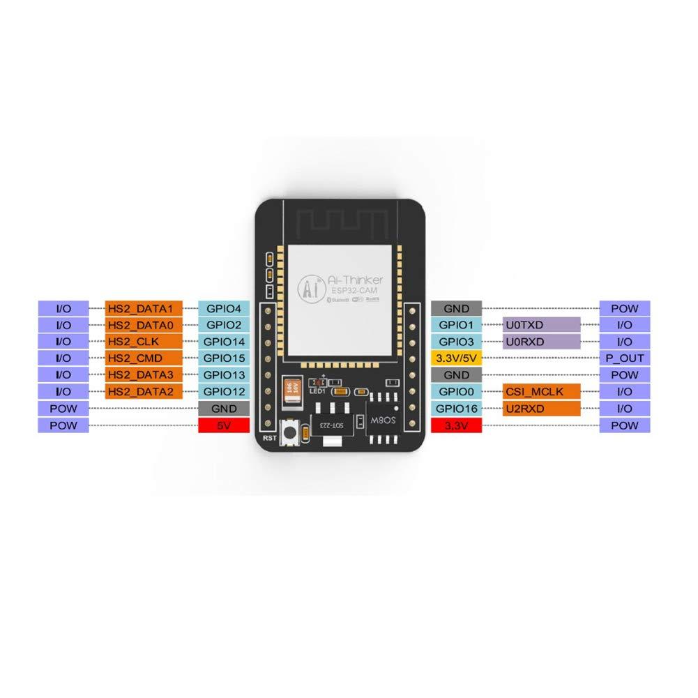 Bluetooth Module Set ESP32-CAM Flash OV2640 2MP Low Power Durable Mini Wireless Dual Core Development Board Camera Black YOTHG WiFi