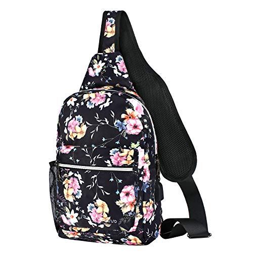 MOSISO Rope Sling Backpack with USB Charging Port, Polyester Chest Shoulder Crossbody Unbalance Gym Fanny Sack Satchel Travel Bag Outdoor Hiking Daypack for Men/Women, Black Base Pink Rose