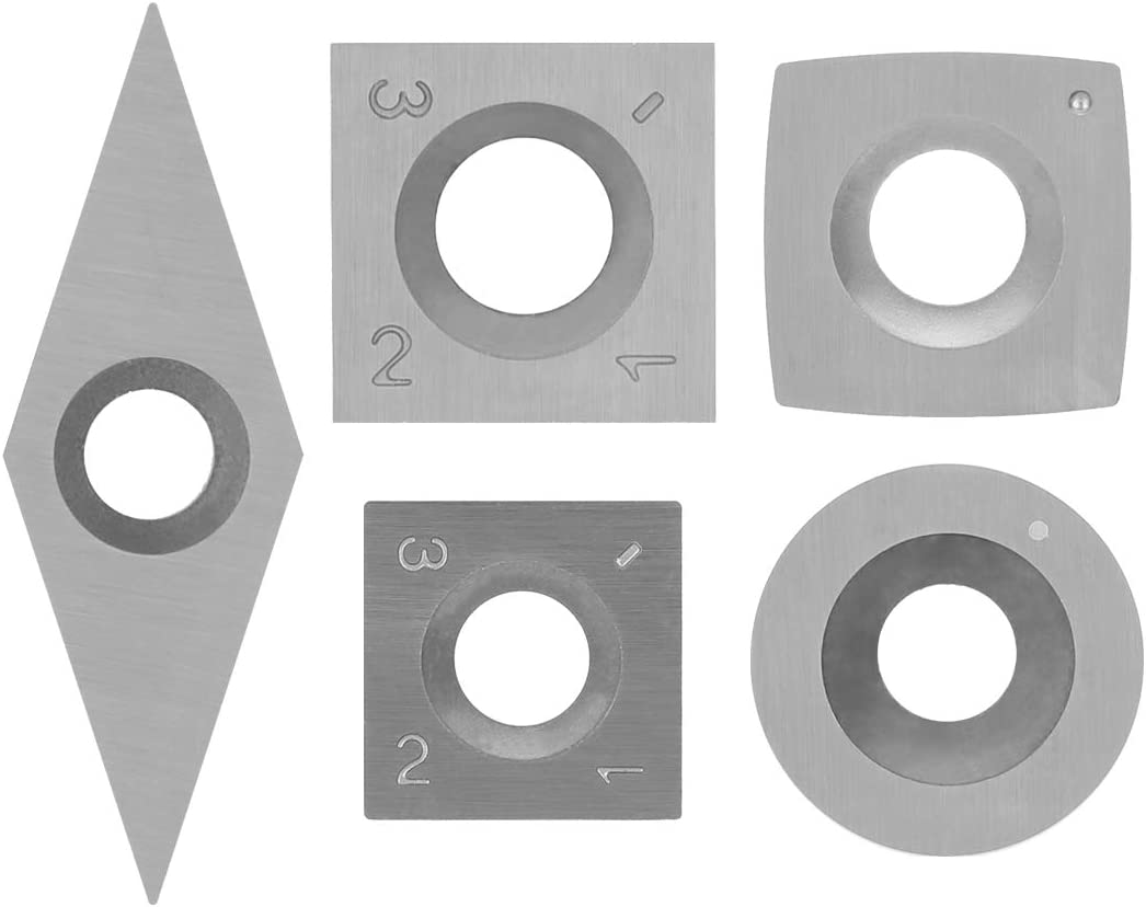 SILIVN 5pcs Tungsten Carbide Cutters Inserts Set for Wood Lathe Turning Tools,(Include Square, Square With Radius,Round and Diamond Shaped Cutters) Supplied with 5 pcs Screws