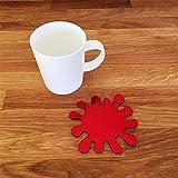 Splash Shaped Coaster Set - Red Mirror - Set of 6