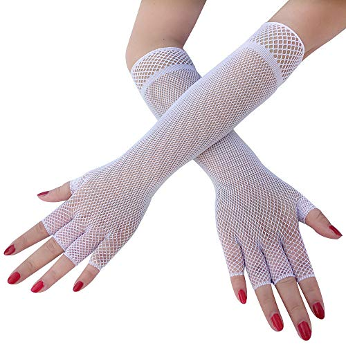 HTWY Girl Gloves White Lace Long Princess Gloves for Wedding (3 Pairs)
