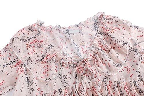 Beauty7 Impreso Florales Gasa Camisetas Mujer Verano Trompeta Mangas Larga Cuello Redondo Impresiones T Shirt Camisas Blusas Tee Tops Parte Superior Casual Ocasional Elegante Rosa