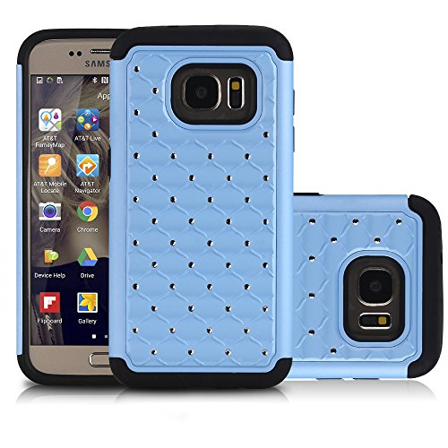 Galaxy S7 Case, NOVT [Dual Layer] Shock Absorbing Hybrid Rubber Plastic Impact Defender Rugged Hard Bling Rhinestone Glitter Phone Case Cover Heavy Duty for Samsung Galaxy S7 (Sky Blue)