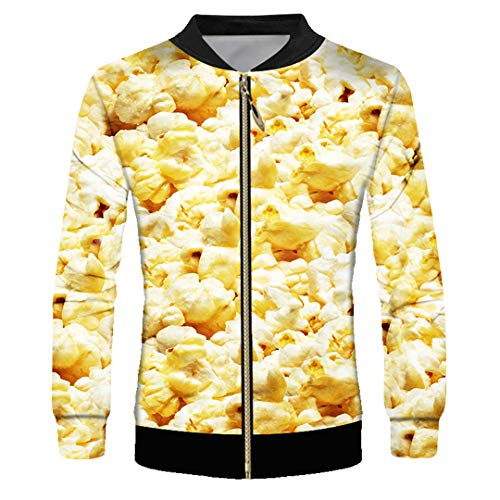 Unisex Autumn Long Sleeve Tops 3D Printed Popcorn Meat and Animal Zip ()