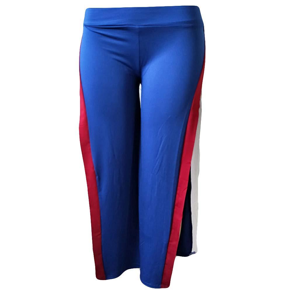 NRUTUP Women Fashion Spliced Fork Leggings Gym Active Loose Broad Leg Pants Deals(Blue,L)