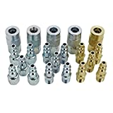 EXELAIR by Milton EX0320MKIT - Air Coupler and Plug Accessory Kit - 1/4'' M-Style Steel/Brass Couplers and 1/4'' M-Style Steel/Brass Plugs - (20-Piece)