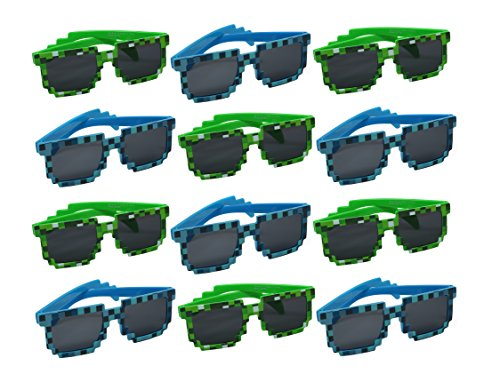 SNInc. Trendy Pixelated Sunglasses - Pack of 12 Sunglasses for Party Favors -