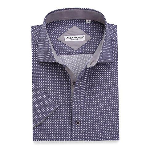Alex Vando Mens Dress Shirts Casual Regular Fit Short Sleeve Printed Men Shirt(Grey878,X - Short Together Sleeve Dress