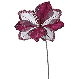 """VCO Pack of 3 Mauve Amaryllis Flowers with Glitter and Sequins Artificial Floral Stems 20"""" 85"""