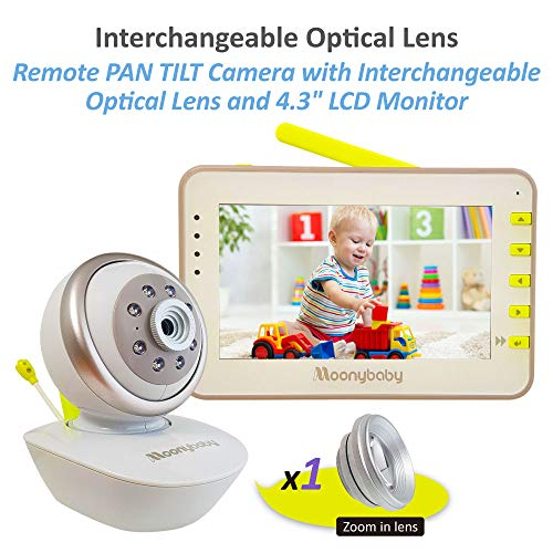 MoonyBaby PAN TILT Camera Video Baby Monitor with Interchangeable Optical Lens, 4.3