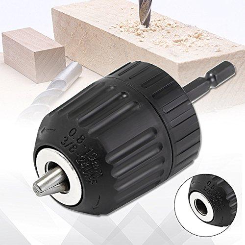 """NEW 1/4"""" - 3/8"""" Keyless Chuck Driver Hex Shank Screwdriver Drill Converter 0.8-10mm"""