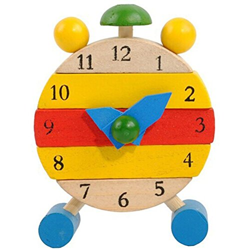 Usstore Baby Kid Child Hand Made Wooden Clock Toys for Kids Learn Time Clock Educational Game Toy (Wooden Broom Pen)