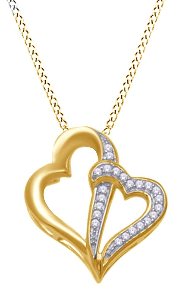 Jewel Zone US Natural Diamond Accent Double Heart Pendant Necklace in 14K Gold Over Sterling Silver