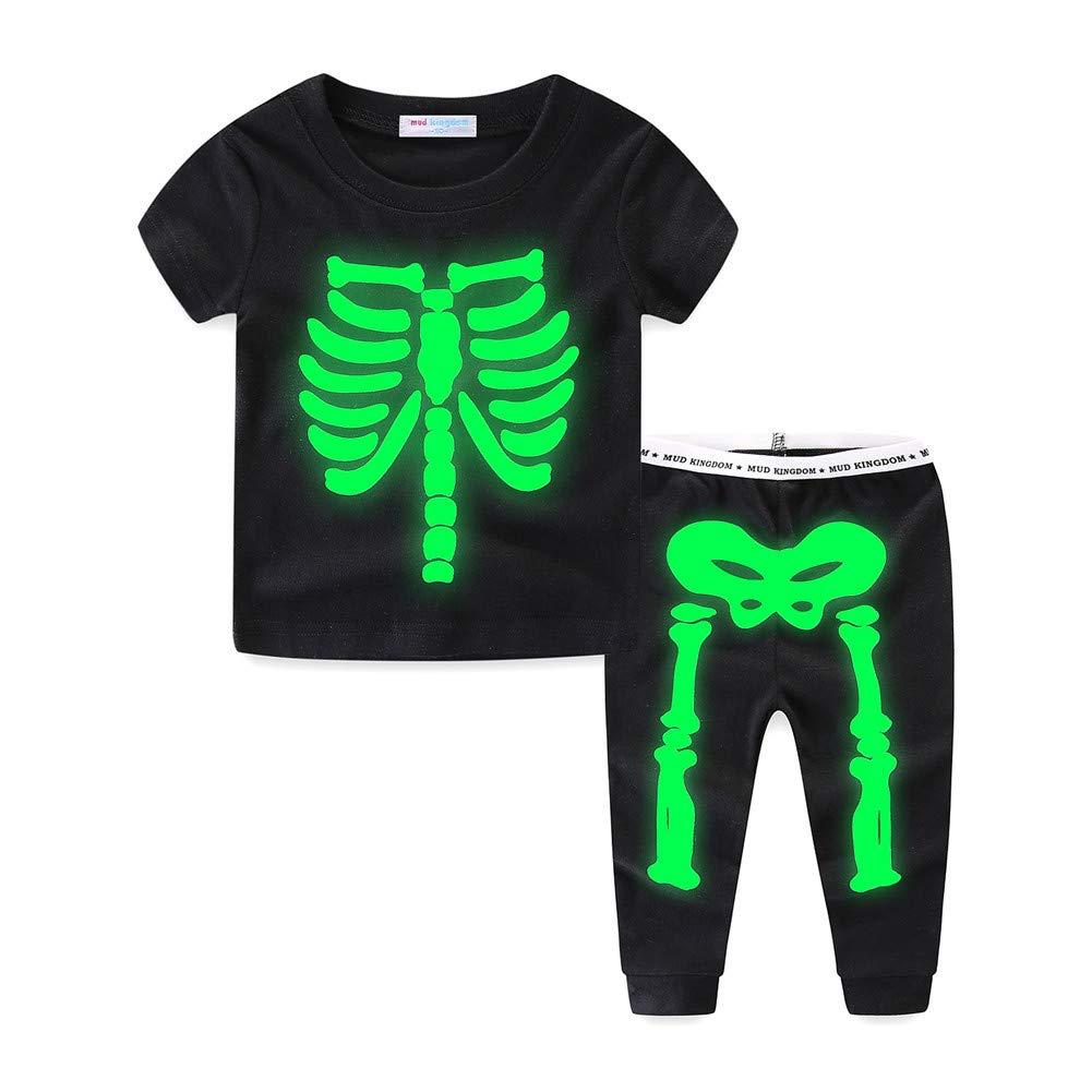 Mud Kingdom Glow in The Dark Toddler Kids Pajama Sets Halloween Skeleton Long Sleeve