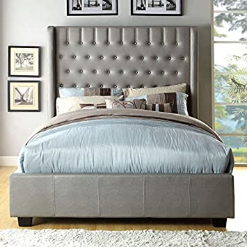 mira contemporary style silver tone finish eastern king size bed frame set