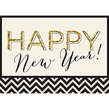 Greeting Cards with Happy New Year in Script and Black and Gold Designs Box Set Has 25 Greeting Cards and 26 White with Gold Foil Lined Envelopes. New Year Greeting Cards N1601