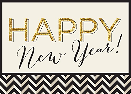 New Year Greeting Cards - N1601. Business Greeting Card with Happy New Year in Script and Black and Gold Designs. Box Set Has 25 Greeting Cards and 26 White with Gold Foil Lined Envelopes.