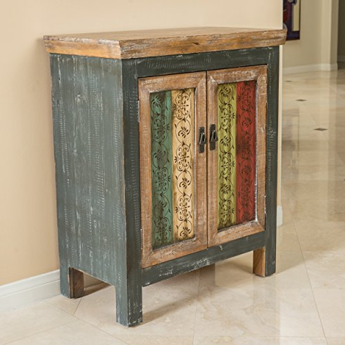 Leo Solid Wood 2-Door Cabinet in Antique Weathered Multi-Color Style Antique Storage Cabinet