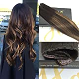 Sunny 16Inch Clip In Hair Extensions One Piece 5 clips Remy Human Hair Dark Brown Mixed Honey Blonde Colorful Highlight Clip in Human Hair Extensions Weight 70g