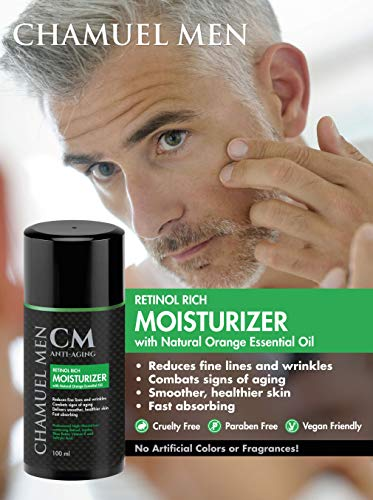 51D95GiX0sL - Men's Anti Aging Face Cream with 2.5% Retinol - Mens Face Moisturizer Retinol Cream - Reduce Face & Eye Wrinkles, Restore and Maintain a Youthful Appearance while You Sleep. Guaranteed Results!