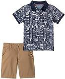 Tommy Hilfiger Boys' 2 Pieces Polo Shorts Set, Navy Print/Khaki, 3T