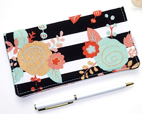 Checkbook Cover. Wallet. Receipt Holder - Piper Floral. Black & White Striped Floral in Mint, Gold, -