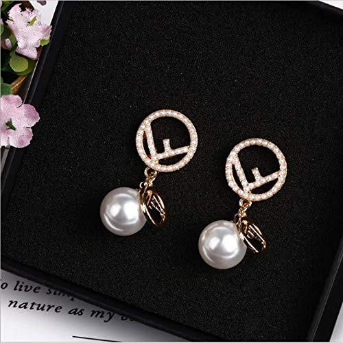 La mode Alliage boucles doreilles Mode Bijoux en argent 925 Broche Femmes Simple Lettre F Big Pearl Drop Earrings