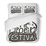 Emvency 3 Piece Duvet Cover Set Brushed Microfiber Fabric Breathable Capoeira Brazilian Dance of Festival Origin Martial and Form with Acrobatic Bedding Set with 2 Pillow Covers Twin Size