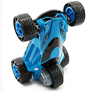 Zhencheng Five Wheels Race Stunt Car 2WD Remote Control RC Vehicle with LED Headlights Extreme High Speed 360 Degree Rolling Rotating Rotation,Blue
