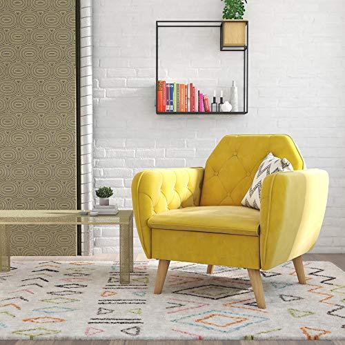 Novogratz 2273379N Tallulah Memory Foam Arm, Mustard Yellow Velvet Accent Chair,