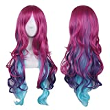 hot cosplay - AneShe Cosplay Wigs for Women Hot Pink Mixed Blue Long Wavy Wig Harajuku Style Heat Resistant Hair Full Wigs